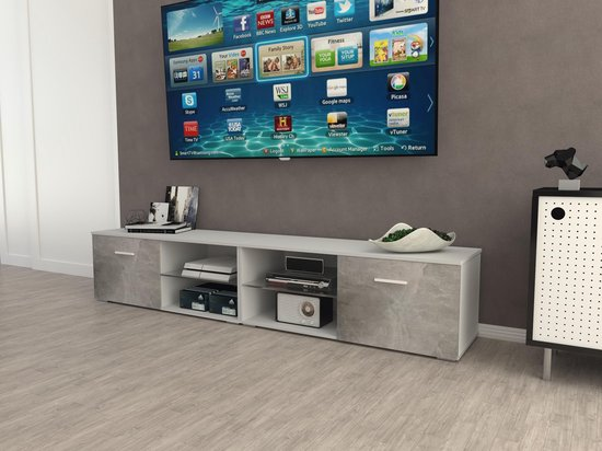 Tv Meubel En Kast.Bol Com Az Home Tv Kast Tv Meubel Denver Xl 220 Cm Wit