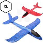 2x Zweefvliegtuig - Super groot Vliegtuig Speelgoed XL - Werp Vliegtuig Schuim - Blauw/Rood
