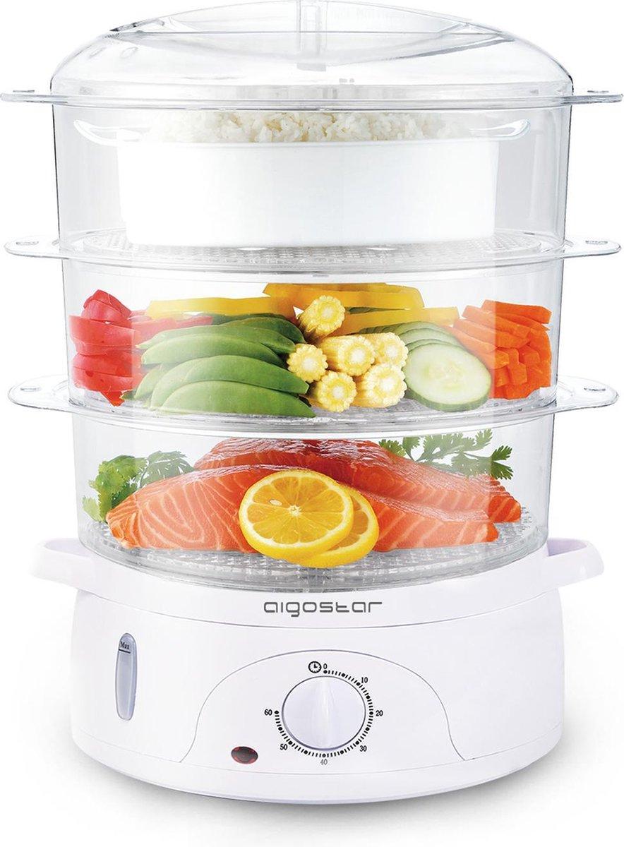 Aigostar Fitfoodie 30CFO - Stoomkoker, 800 W, BPA vrij - Wit