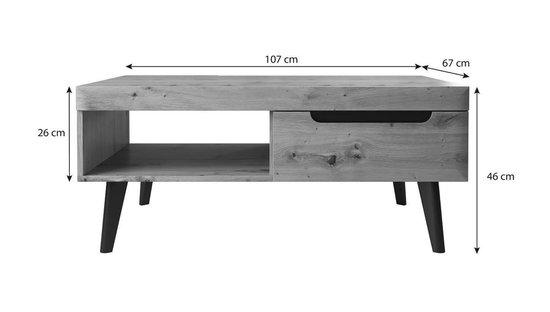 Salontafel Nebraska - Wit - Eiken - 107 cm - MEUBELLA
