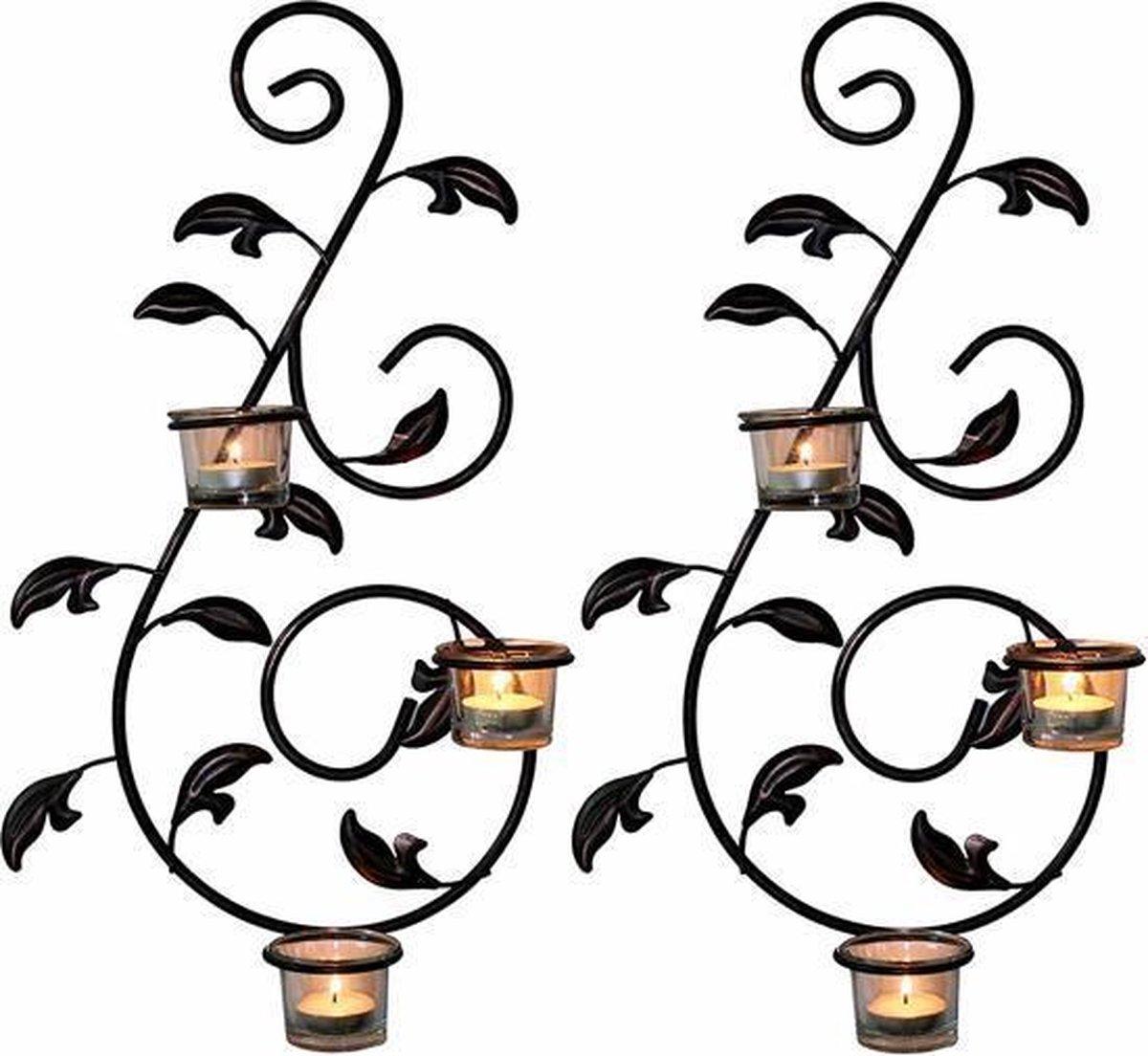 2 Delige Decoratieve wandkandelaar met gratis theelichtjes - N3 Collecties