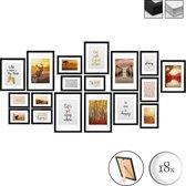 bomoe Passion Set van 18 Houten Fotolijsten - 6x 10,5x15cm / 4x 13x18cm / 4x 18x24cm / 4x 20x30cm – Plexiglas Fotolijst van Hout - Standaard & Passepartout - Metalen Ophanging - Zwart
