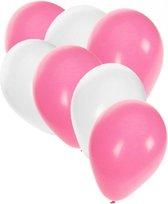 30x ballonnen wit en lichtroze - 27 cm - witte / lichtroze versiering