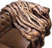Plaid - Woondeken - Imitatiebont - Zwart Bruin - 180x150 cm