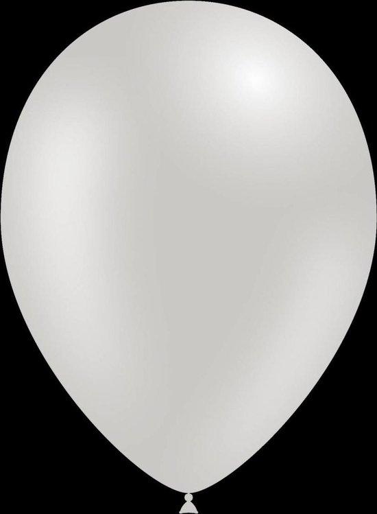 100 stuks - Feestballonnen metallic zilver 26 cm professionele kwaliteit