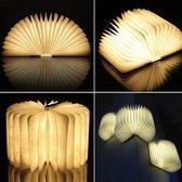 Boeklamp - lichtboek - Donker hout - warm witte Led verlichting - groot - premium versie met Tyvek dupont papier - relatie geschenk