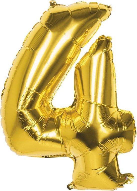 Boland Folieballon Cijfer 4 Latex Helium Goud 86 Cm