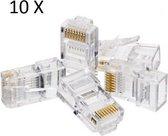 10 Stuks RJ-45 / CAT-5E en CAT 6 Compatible RJ45 Connector Plug voor Ethernet Kabel / Netwerk Kabel / LAN Kabel