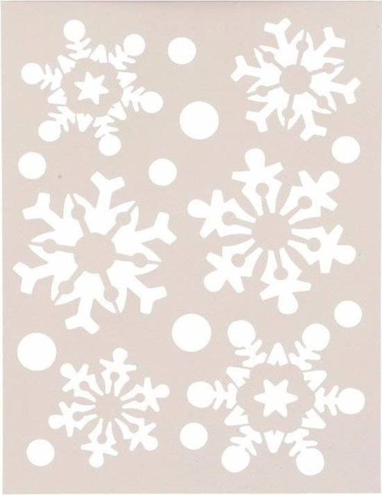 Kerst raamsjablonen sneeuwvlokken/sneeuwsterren plaatjes 30 cm - Raamdecoratie Kerst - Sneeuwspray sjabloon