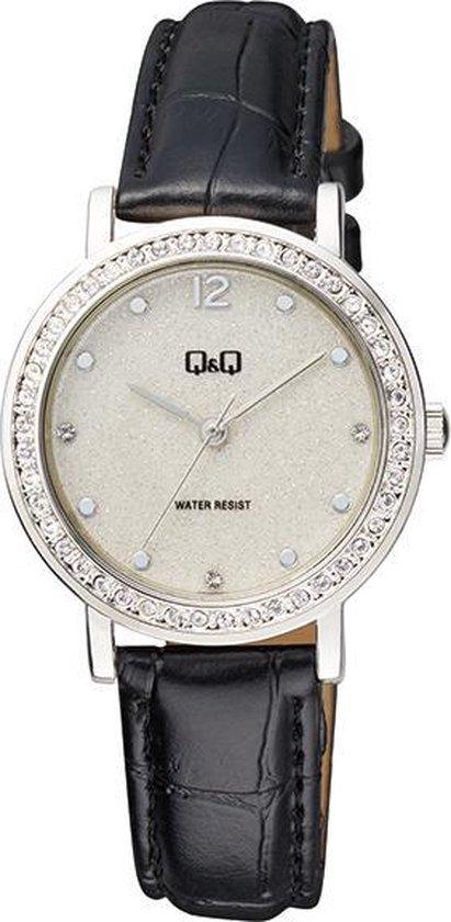 Prachtig Q&Q dames horloge met zwart lederen band QB45J301