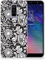 Samsung Galaxy A6 Plus (2018) TPU Siliconen Hoesje Black Flowers