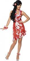 Rood/wit Hawaii verkleed kostuum/jurkje met accessoires dames - Carnavalskleding sexy tropische/zomer thema verkleedoutfit