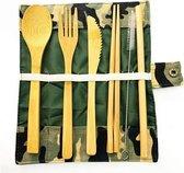 Davim Bamboe bestek - 8-delige set - Camouflage etui