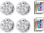4 x LED decoratie unit 7 cm Multicolor led in zwembad - vaas of onder statafel - lampje onder water verlichting