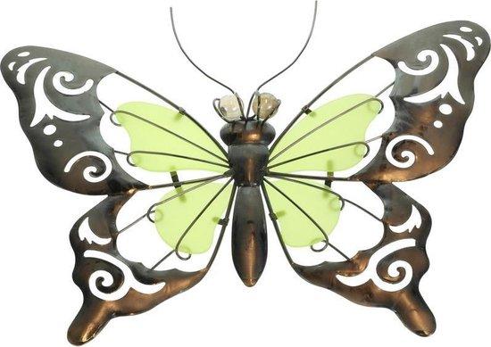 Bol Com Metalen Vlinder Geel Groen 35 Cm Glow In The Dark Tuin Decoratie Schutting
