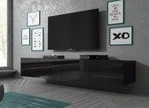 Meubella - TV-Meubel Calgary - Zwart - 200 cm (2x 100) - Hangend of staand