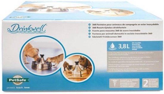 Petsafe 360 drinkfontein roestvrijstaal met adapter 3,8 ltr