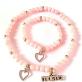 Jewellicious Designs Pink Sweetheart Mama & Baby Girl armbandenset - armbanden - Kraamcadeau - Moeder & Dochter - Roze