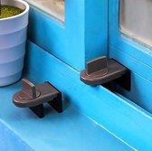 Raam slot -window lock -beveiliging - houd uw huis veilig - bruin - raam - kinderslot - schuifraam - Beveiliging - deurslot - slot - Binnenhuis