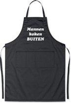 Mannen koken BUITEN! - Luxe Schort Keukenschort met tekst - Zwart