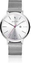 Zinzi Horloge Retro + gratis Armband ZIW402M - Zilverkleurig - Ø 38 mm