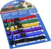 Trixie puppy halsband voor hond set rood / groen / geel / paars / blauw / zwart 17-25 cm 6 st