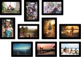 Magnetische fotolijst - foto 10x13 cm - zwart - 10 stuks