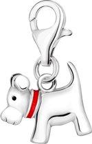 Quiges - Charm Bedel Hanger 3D Hond - Dames - zilverkleurig - QHC002