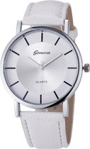 Hidzo Horloge Geneve Quartz ø 37 mm - Wit - In horlogedoosje