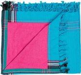 Byron Bay Handdoek - Strandlaken - Kikoy Towel blauw/roze