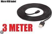 3 meter micro USB 2.0 oplaad kabel voor Samsung telefoons / universeel - zwart