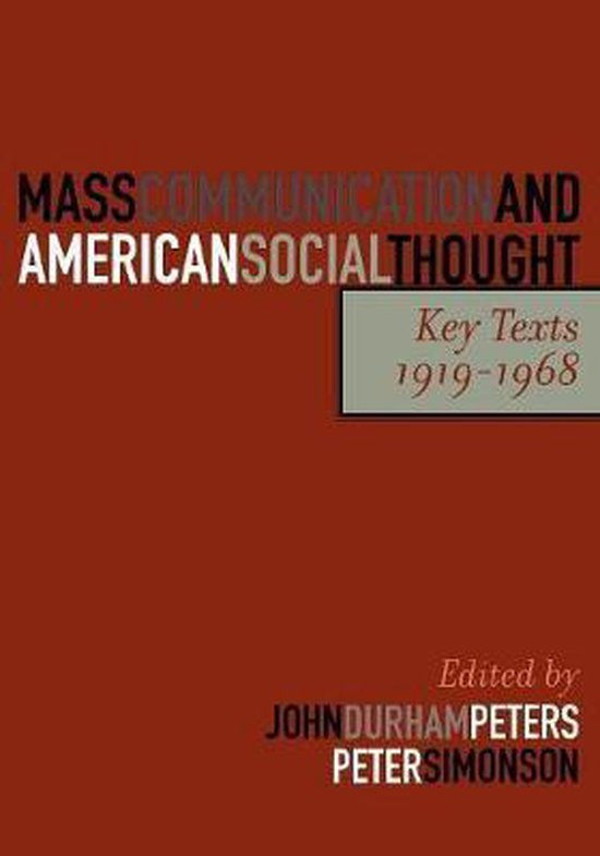 Boek cover Mass Communication and American Social Thought van Jane Addams (Paperback)