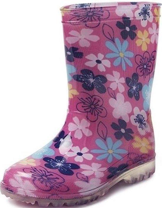 Roze peuterkinder regenlaarzen gekleurde bloemen Rubberen bloemenprint laarzenregenlaarsjes voor kinderen 23