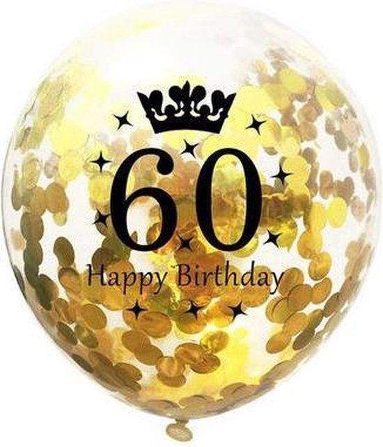 Confetti ballon - 31cm - 5 stuks - Goud - 60 jaar