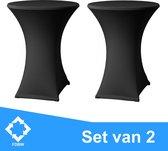 Statafelrok Zwart x 2 - Statafel Tafelrok – Statafelhoes Set van 2 - Stretch –  Statafelrok voor Statafel ∅80-85 x 110 cm