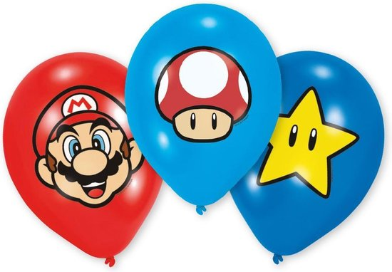 6 Latex Balloons Super Mario Bros 27 5 cm/11