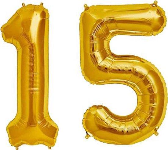 Cijfer 15 Goud Helium 86 cm Excl. Helium