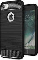 Luxe Apple iPhone 6s – Zwart – Geborsteld TPU carbon case – Shockproof cover