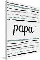 Cadeau voor de beste vader met tekst en strepen - Papa Canvas 20x30 cm