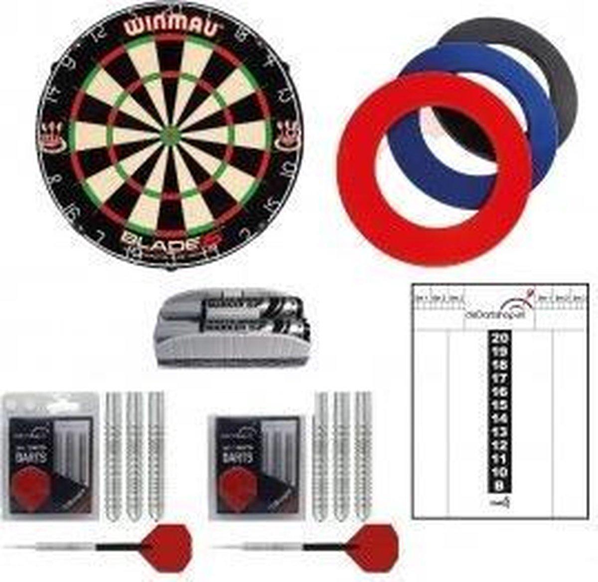 Winmau - Luxe complete dartset - dartbord - dartpijlen - surround ring - whitboard