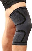 Compressie Knie Brace - Elastisch Bandage - Band - Strap - Sleeve - Kousen - Warmers - Blessures - Sport Ondersteuning - Knee Support - Vrouwen - Mannen - Maat: M - 1 stuk - Grijs