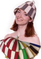 """saunamuts """"cage"""" tweekleur GEEL/WIT A-227 sauna vilten hoed"""