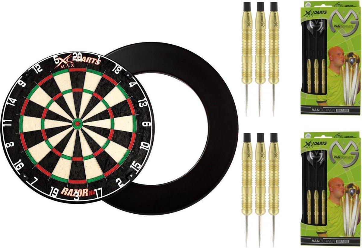 XQ Max - Razor HD Bristle - dartbord - inclusief - dartbord surround ring - Zwart - en 2 sets - 100% Brass Michael van Gerwen - 20 gram - dartpijlen