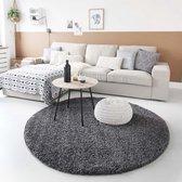 Hoogpolig vloerkleed shaggy Trend effen rond - grijs 160 cm rond