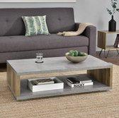 Moderne salontafel Bolton 110x60x30 cm betonlook en hout