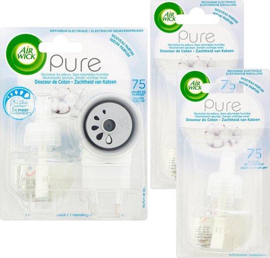 Air Wick Elektrische Geurverspreider Luchtverfrisser - Pure Zachtheid van Katoen - Starterkit + 2 Navullingen - Voordeelverpakking