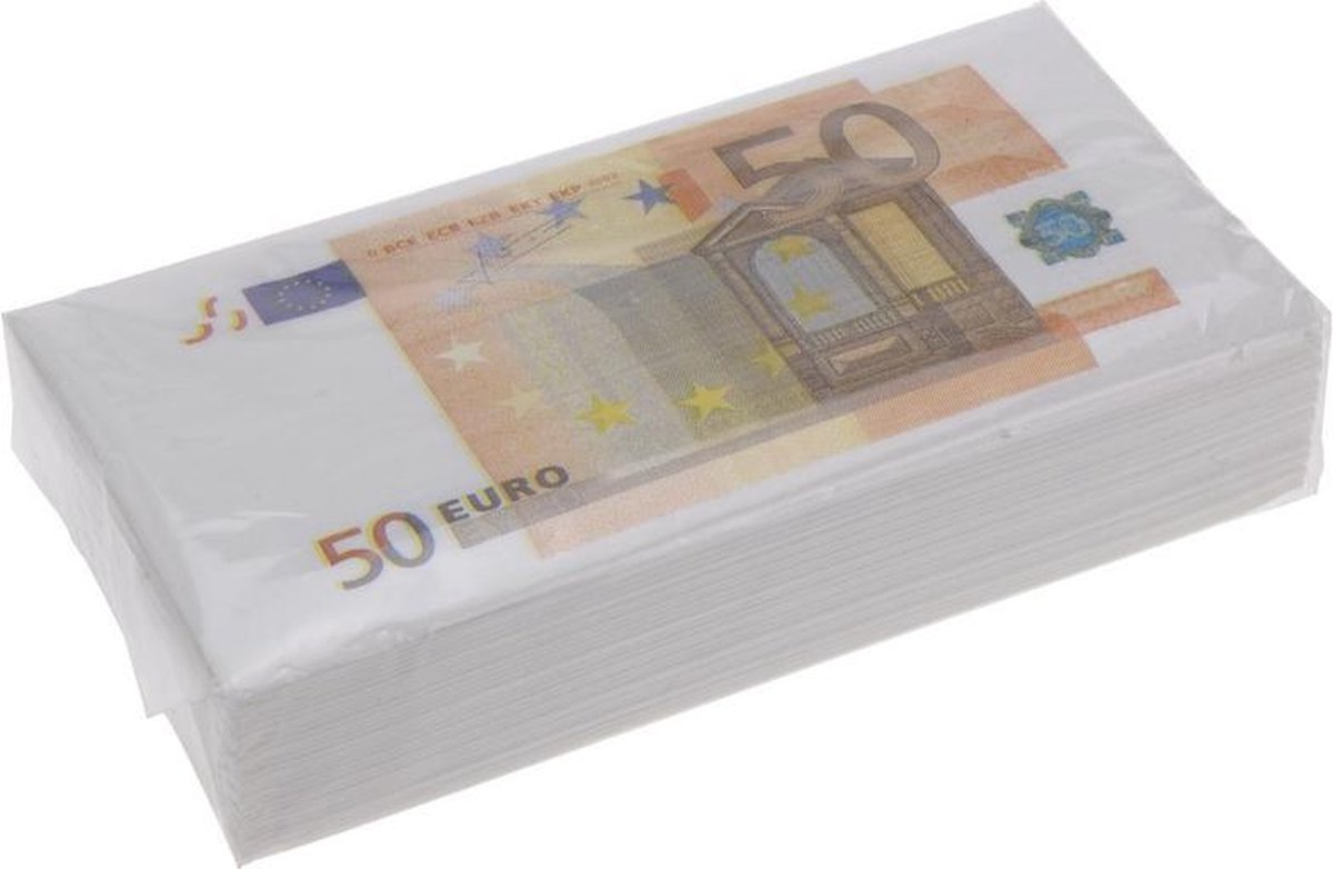 16x 50 euro geld servetten 33 cm - Merkloos