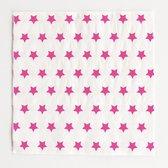 Papieren servetten, wit met roze sterren