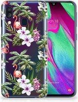 Samsung A40 TPU Silicone Hoesje Design Flamingo Palms