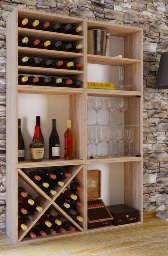 Wijnkast - Voor 24 flessen - eikenhout - Vcm